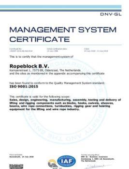 CERTIFICATE ISO 9001-2015 Ropeblock